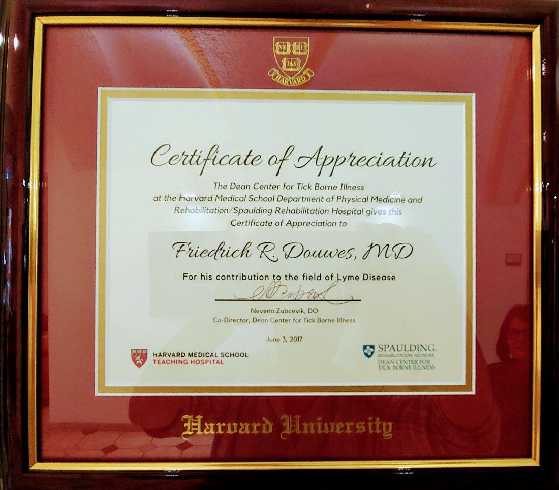 Certificate of Appreciation to Dr. Douwes from my doctor, Dr. Nevina Zubcevik